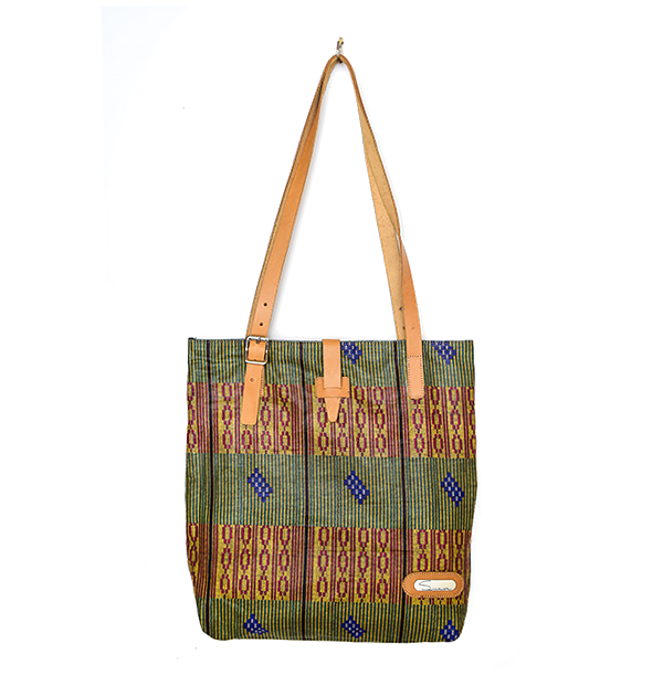 CITY TOTE. PRINT. OLIVE
