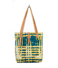 CITY TOTE. PRINT. BLUE & YELLOW