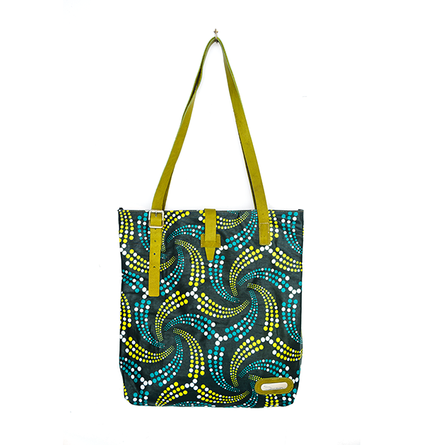 CITY TOTE. PRINT. MIXED GREEN