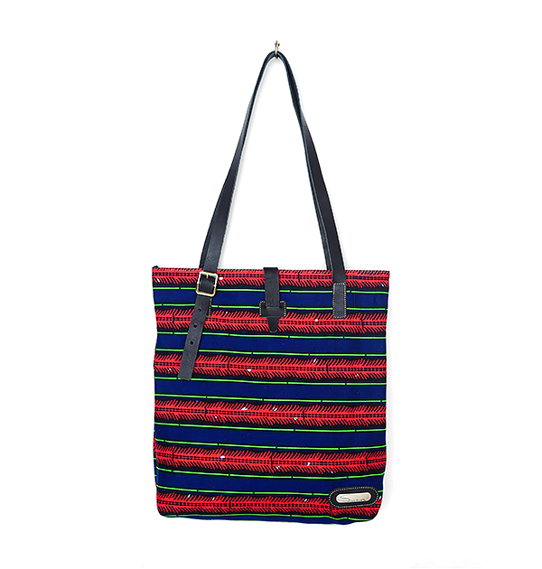 CITY TOTE. PRINT. RED & BLUE
